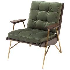 Saloon Armchair with Kaki or Blue Velvet Fabric