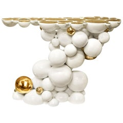 Spheres Console Table with Aluminium White and Gold Spheres