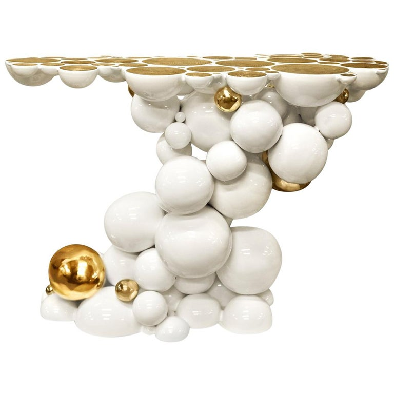 Spheres Console Table with Aluminium White and Gold Spheres For Sale