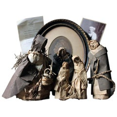 Julia Norris Rare Collection of Five 19th Century Folk Art Sculpted Paper Ladies