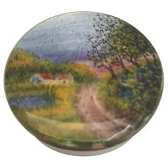 Silver and Enamel Box with Country Scene on Lid