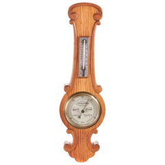 Small Antique Oak Banjo Barometer, circa 1880