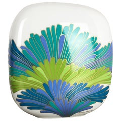 Colorful 1970s Art Vase Porcelain Vase by Rosemonde Nairac for Rosenthal Germany
