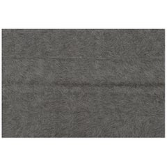 Minimal Grey Mohair Wool Kurdistan Rug or Covering Fabric Modern Style