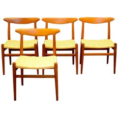 Set of 4 W2 Teak and Cane Chairs by Hans J. Wegner, 1950s, C.M. Madsens DK