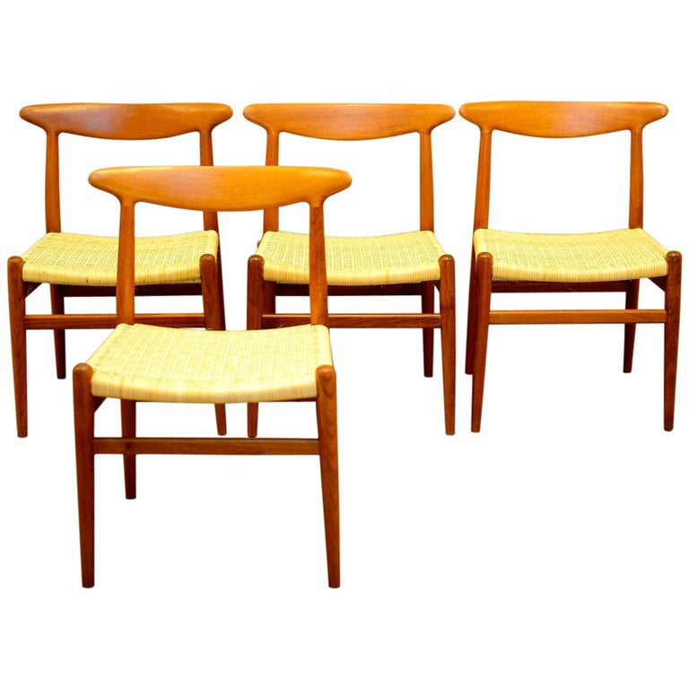 Set of 4 W2 Teak and Cane Chairs by Hans J. Wegner, 1950s, C.M. Madsens DK For Sale