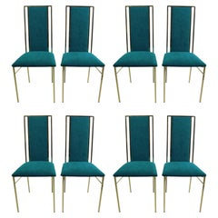 Set of 8 Brass and Velvet Dinning Chairs, Italy, 1970s