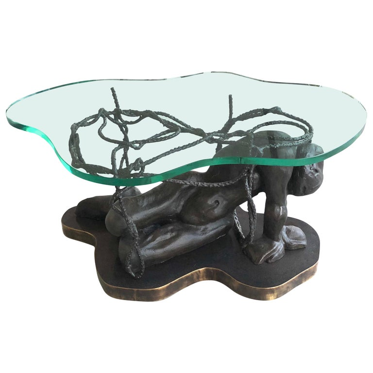"""Laverne Bronze Sculpture Coffee Table """"Persephone Enslaved"""" For Sale"""