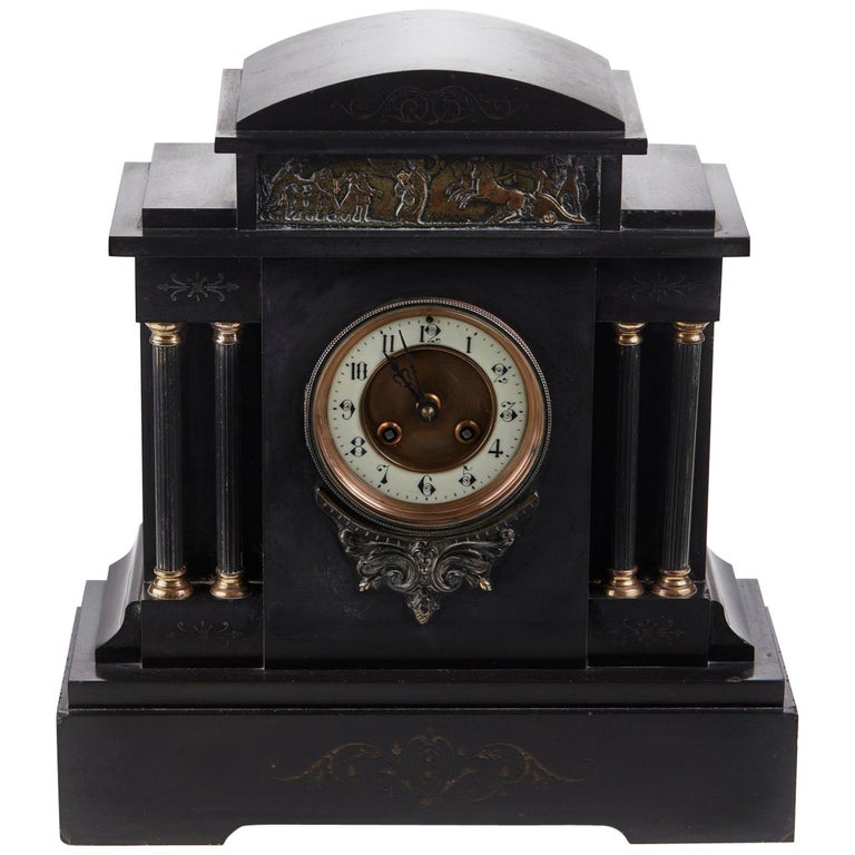 Large Victorian Architectural Marble Mantle Clock For Sale