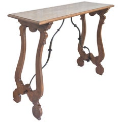 Spanish Console Table with Iron Stretcher and Turned Legs, Side Table, Baroque