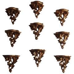 Nine Large Carved Giltwood Wall Brackets