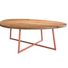 Noguchoff Coffee Table, Coral Powder Coated Steel, Reclaimed Heart Pine