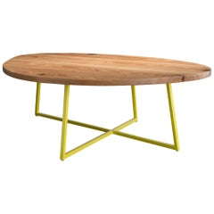 Noguchoff Coffee Table, Yellow Powder Coated Steel, Reclaimed Heart Pine