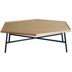 Hex Coffee Table, Navy Powder Coated Steel, Ash Top