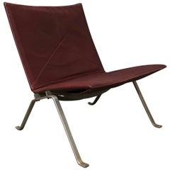 1956, Poul Kjaerholm for E. Kold Christensen, PK22 Lounge Chair in Red Leather