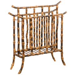 English Vintage 1950s Mottled Bamboo Magazine Rack with Chinoiserie Inspiration