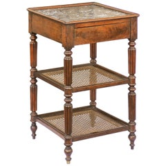 English 1870s Mahogany Étagère with Cane Shelves, Marble Top and Reeded Legs