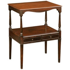 French 1880s Tiered Mahogany Table with Valanced Apron, Lower Shelf and Drawers