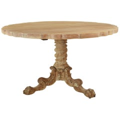 Antique Round Bleached Anglo-Indian Colonial Style Centre Table