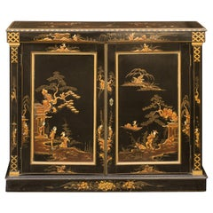 English 1880s Japanned Black Two-Door Buffet with Hand Painted Chinoiserie Decor