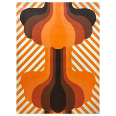 Knoll Mid-Century Modern Graphic Orange Textile Fabric Wall Art, 1970s