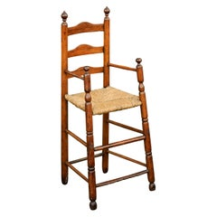 American Rustic Pine Child's High Chair with Rush Seat, Early 20th Century