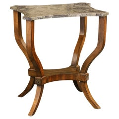 French 1870s Walnut Side Table with Variegated Marble Top and Petite Shelf