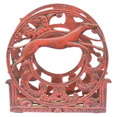 English 1930s Red Painted Metal Magazine Rack with Medallions and Greyhounds