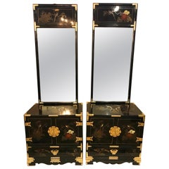 Pair of Chinese Chinoiserie Midcentury Black Lacquer Nightstands with Mirrors