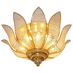 Gilt Crystal Bakalowits Sunburst Leaf Hollywood Regency 10-Light Chandelier