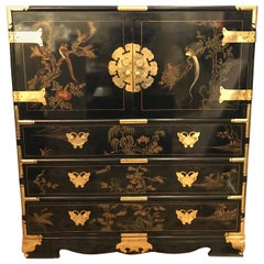 Tall Chinese Black Lacquer Chinoiserie Chest Armoire