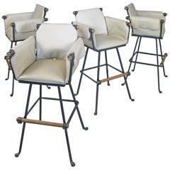 Set of Four Iron and Oak Swivel Barstools by Cleo Baldon