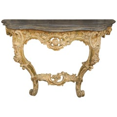 French Rococo Period 1740s Painted Console Table with Hand Carved Floral Motifs