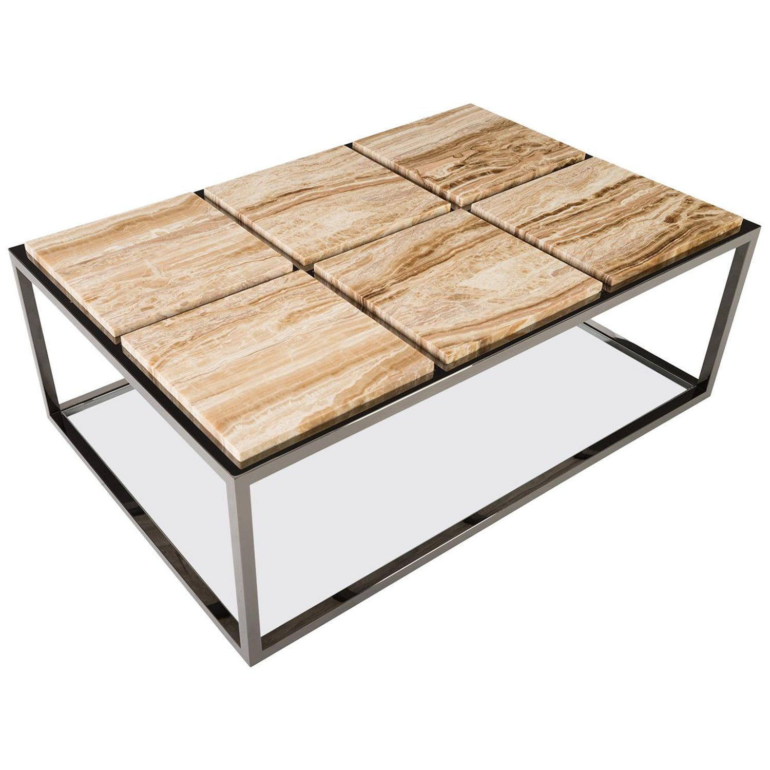 Stone Base Coffee Table.Six Panel Stone Rectangular Coffee Table With Black Nickel Base