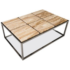 Handcrafted Six-Panel Stone Coffee Table