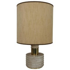 Italian Travertine Marble Table Lamp, 1970s