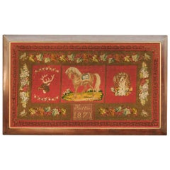 Framed English Red Needlework Tapestry Dated 1871 with Animals and Greek Key