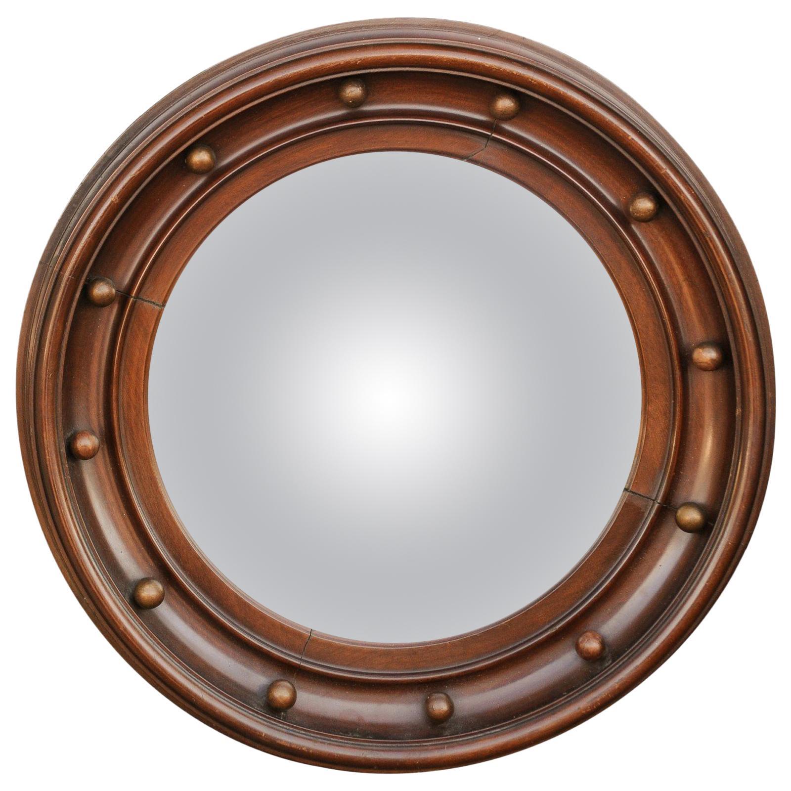 Vintage English Wooden Girandole Bullseye Convex Mirror from the Midcentury