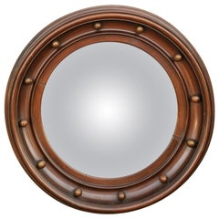 Vintage English Wooden Girandole Bullseye Convex Mirror from the Midcentury
