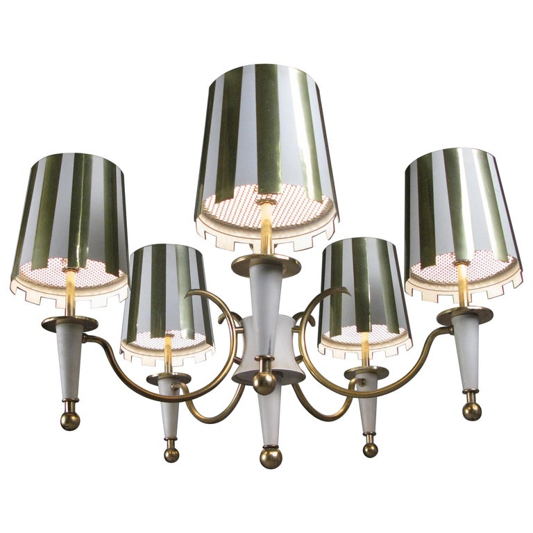 Brass and White Lacquer Five-Light Chandelier For Sale