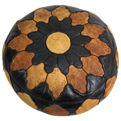 Vintage Moroccan Leather and Suede Ottoman Footrest Pouf