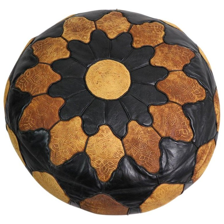Vintage Moroccan Leather and Suede Ottoman Footrest Pouf For Sale