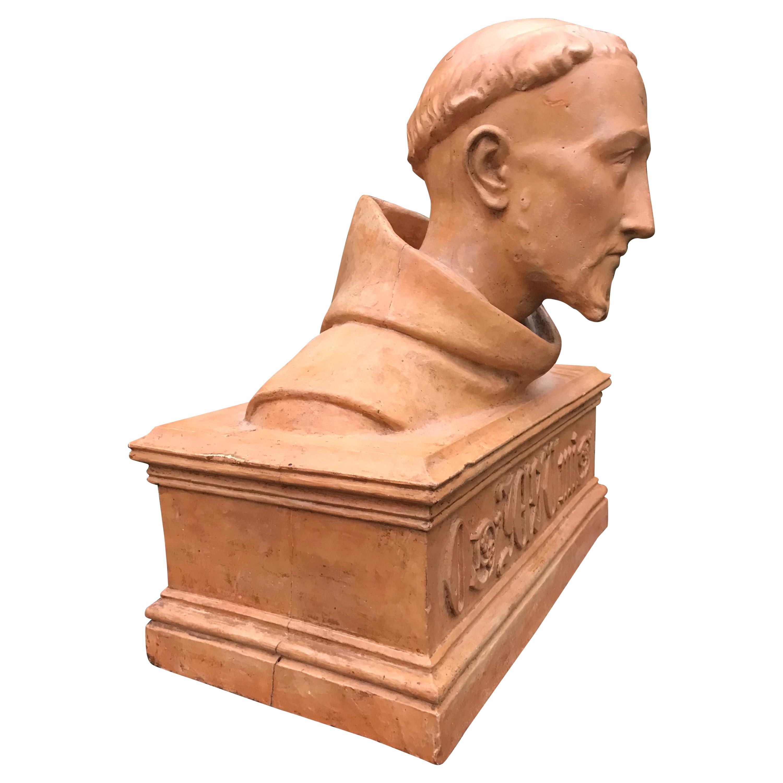 Antique Terracotta Bust Sculpture of G. Gabrieli Italian Composer of O Jesu Mi