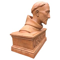 Antique Terracotta Bust Sculpture of G. Gabrieli Italian Composer of O Jesu Mi