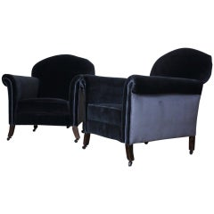 Pair of 19th Century English Armchairs in Velvet