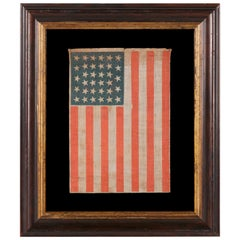 34 Stars in a Lineal Arrangement on an Antique American Parade Flag