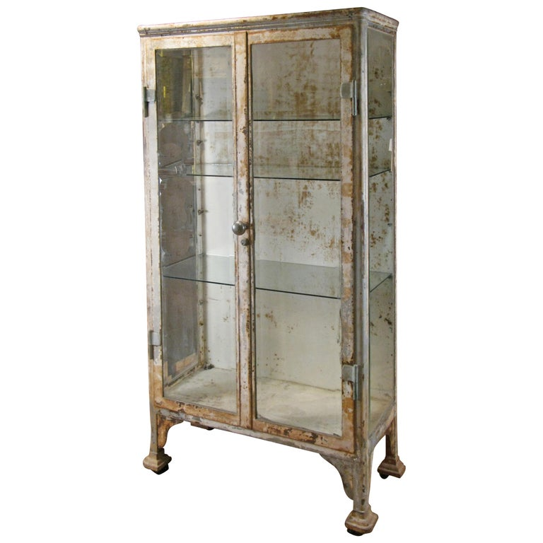 Antique Cast Iron and Glass Apothecary Cabinet For Sale