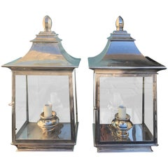 Pair of 20th Century Polished Chrome Wall Mount Lanterns, One Light
