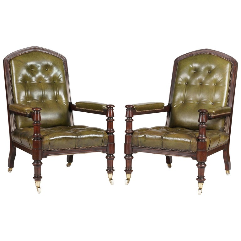 Pair of Georgian Mahogany and Green Leather Armchairs For Sale