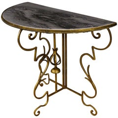 20th Century Metal and Marble French Demilune Console, 1980